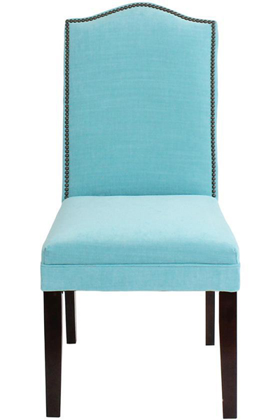 Camel-Back Parsons Chair with Nailhead Trim