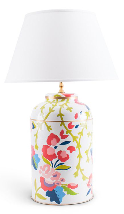 Poppy Floral Tea Caddy Lamp