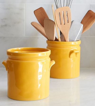 Yellow Ceramic Crock