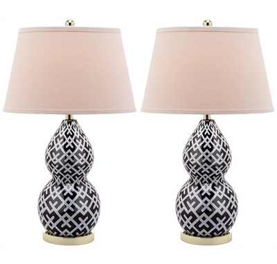 these black and white safavieh table lamps will make a graphic. Black Bedroom Furniture Sets. Home Design Ideas