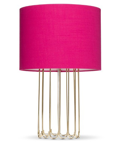 Gold Cage Lamp with Pink Shade