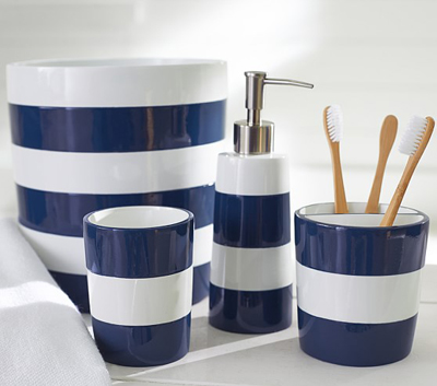 Navy stripe bath accessories decor by color for Navy bathroom accessories