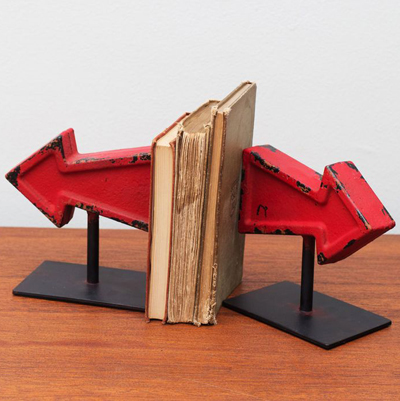 Red Arrow-Shaped Bookends