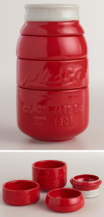 Red Mason Jar Measuring Cups
