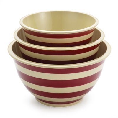Red Stripe 3 pc. Mixing Bowl Set