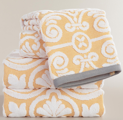 Yellow Sculpted Tile Riviera Bath Towel Collection