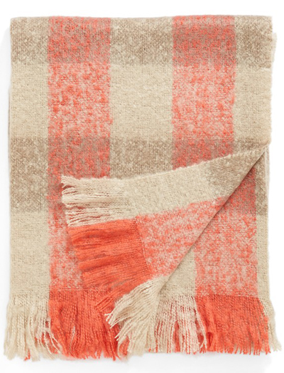 Coral Spice Plaid Throw