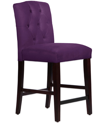 Purple Denise Tufted Arched Counter Stool