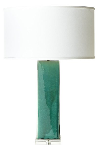 Teal Ceramic Tower Lamp