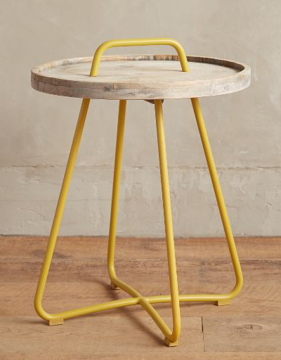 Yellow Threaded Button Side Table