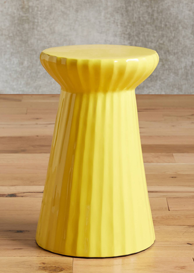 Yellow Lacquered Bead Side Table
