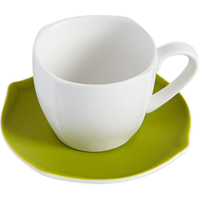 Eddie White Teacup with Green Saucer