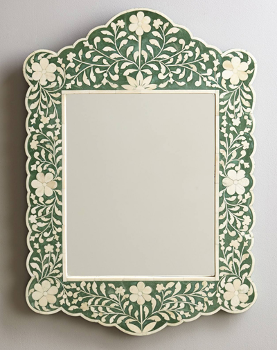 Green Flora Inlay Mirror