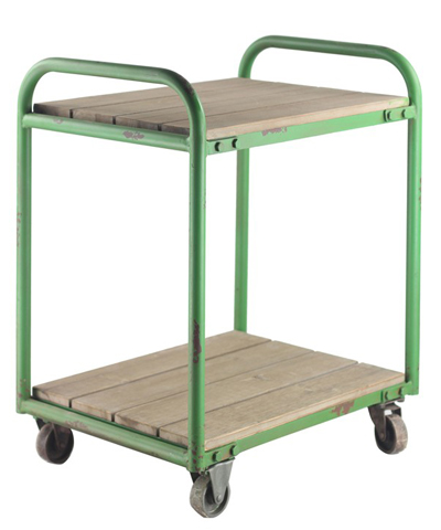 Green Metal & Wood Cart