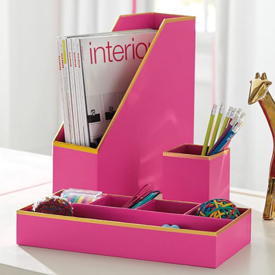 Pink Printed Paper Desk Accessories Set