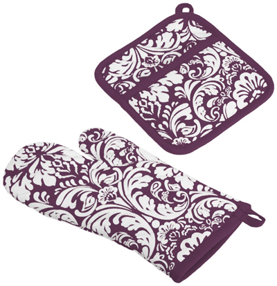 Purple Damask Oven Mitt and Potholder Set