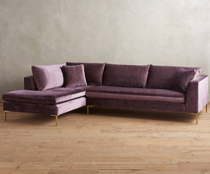 Slub Velvet Edlyn Left Arm Sectional