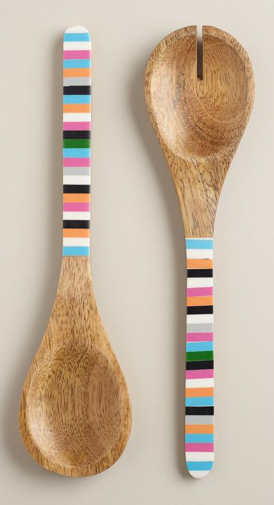 Striped Wood Salad Servers