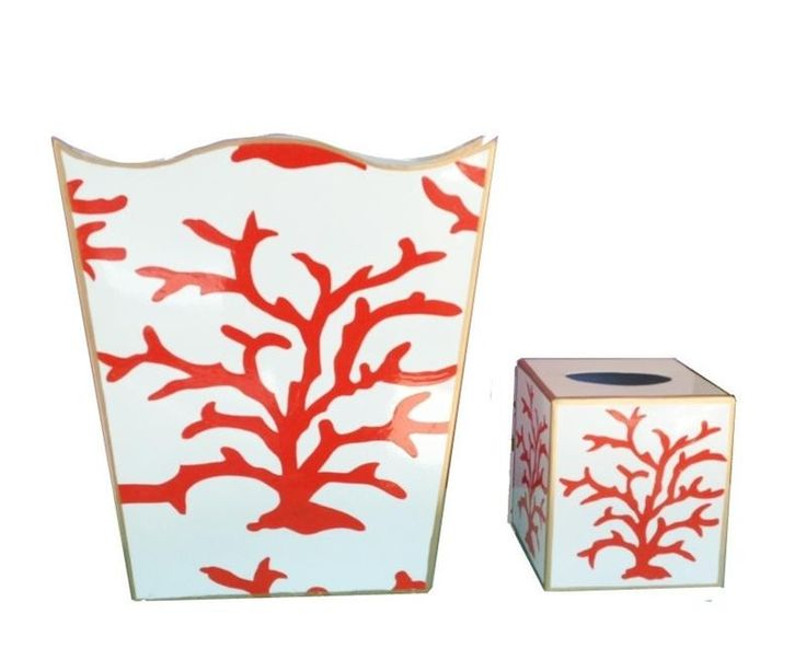 Coral Coral Wastebasket and Tissue Box