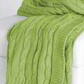 Lime Green Cable Knit Throw