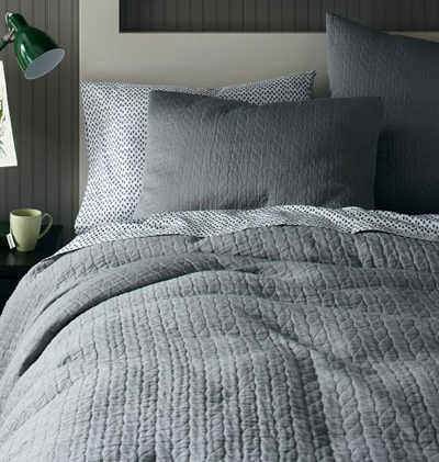 Organic Feather Gray Braided Matelasse Bedding