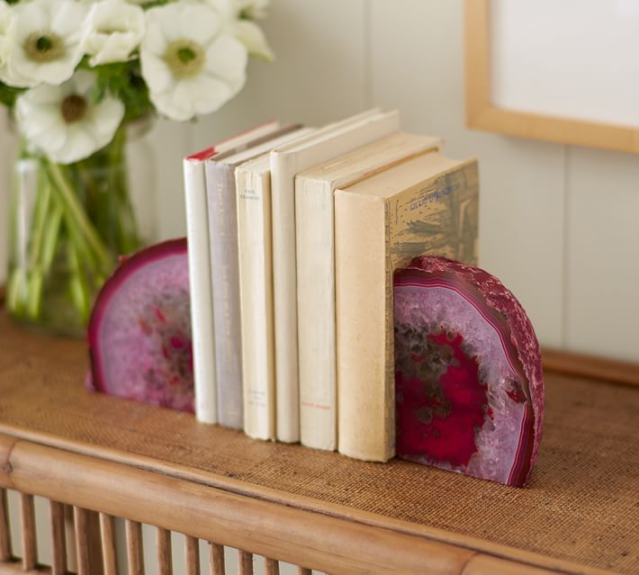 Pink Geode Bookends Set