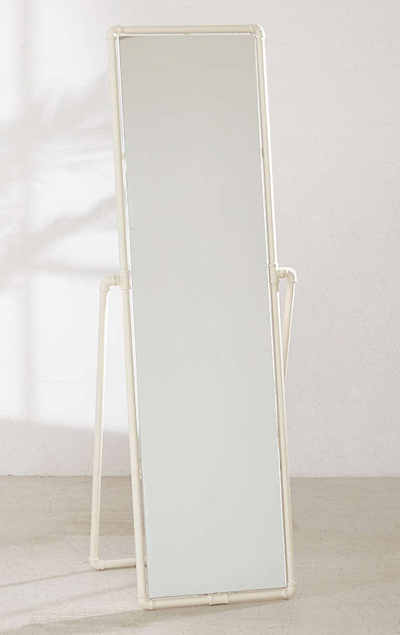 White Pipe Standing Mirror