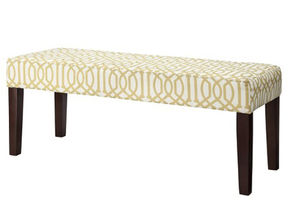 Yellow/White Trellis Bench