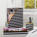 Black/White Stripe Desk Accessories