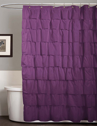 Purple Ruffle Fabric Shower Curtain