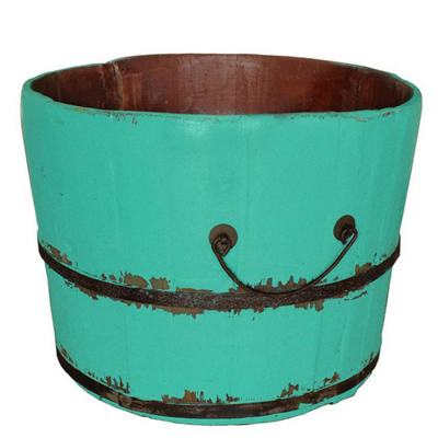 Turquoise Wooden Rice Bucket