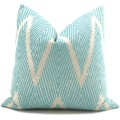 Aqua and Gray Ikat Chevron Decorative Pillow Cover