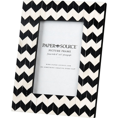 Black white chevron picture frame