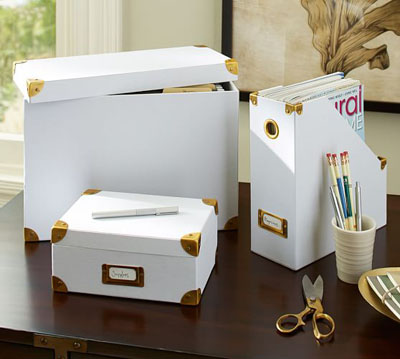 Chloe Canvas & Brass Office Storage