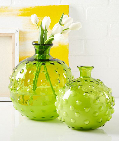 Green Hobnail Decorative Vases