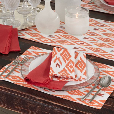 Ikat Printed Placemat, Runner, and Napkin Set