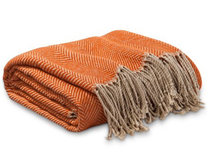 Orange Herringbone Throw