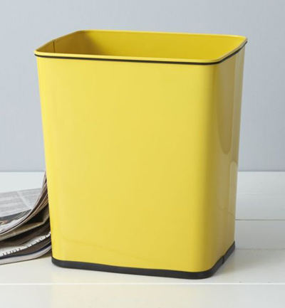 Polder Yellow Steel Trash Can