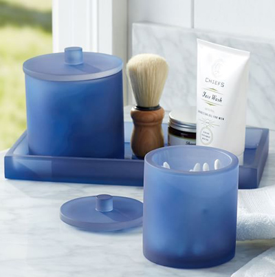 Serra navy blue bath accessories decor by color for Blue glass bath accessories