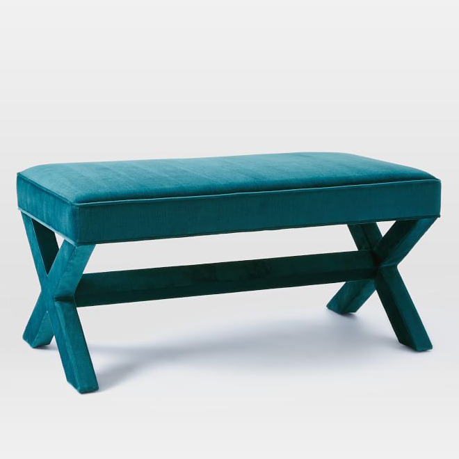 Cross Base Upholstered Bench