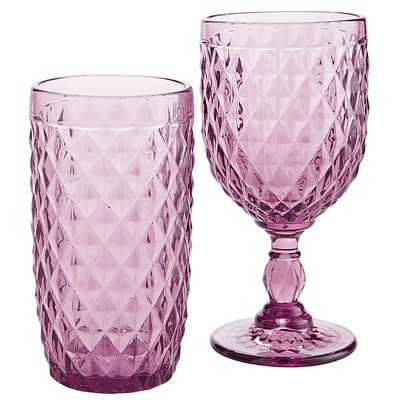 Purple Diamond Cut Glassware