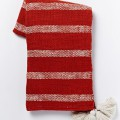 Red Tassel Stripe Throw