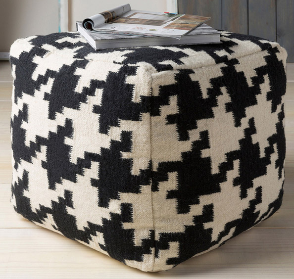 Black and White Tuscaloosa Houndstooth Square Pouf