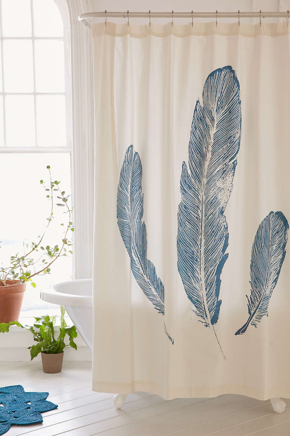 Blue Plume Shower Curtain