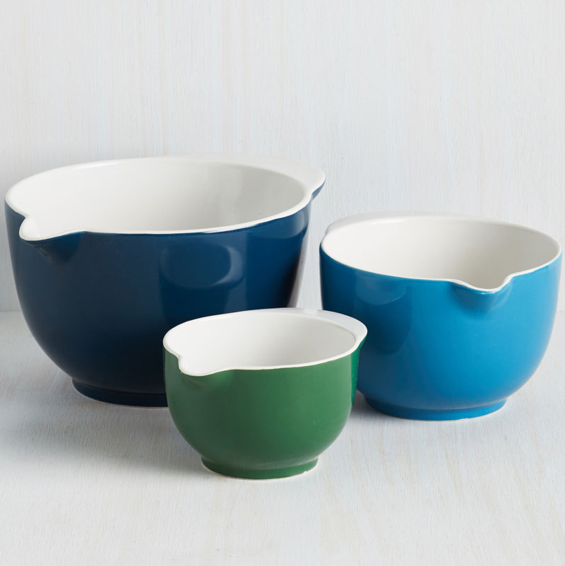Blue and Green Mixing Bowl Set