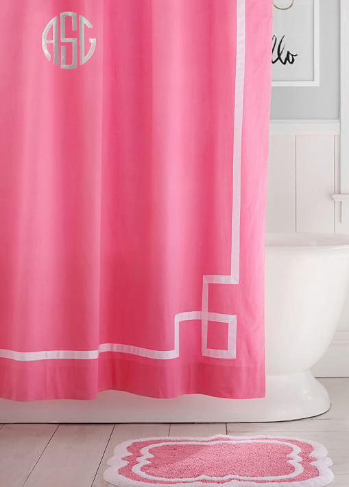 Bright Pink Emma Ribbon Trim Shower Curtain
