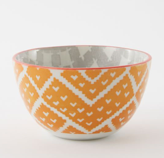 Orange Folk Pad Printed Bowls