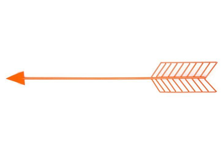 Orange Wire Arrow Wall Decor