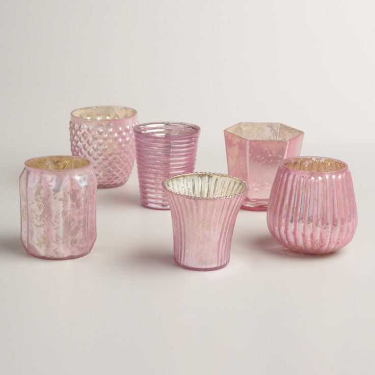 Pink Mercury Glass Votive Candleholders