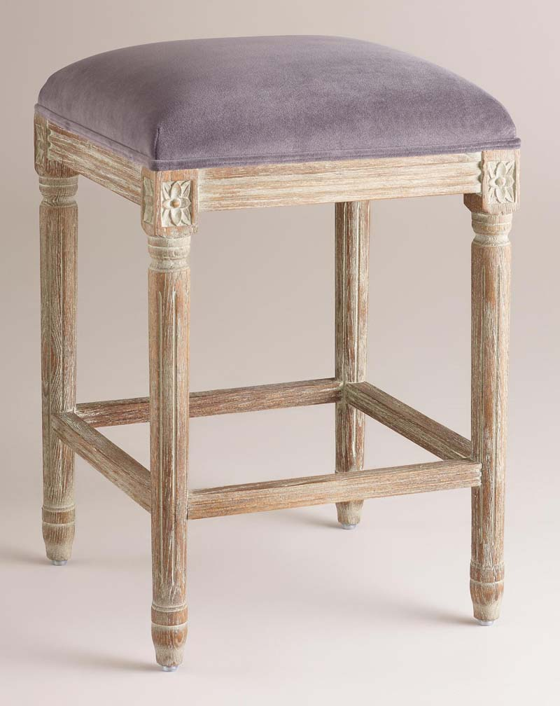 Plum Velvet Paige Backless Counter Stool